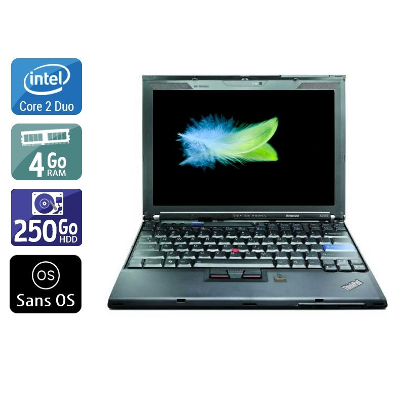 Lenovo ThinkPad X200 Core 2 Duo 4Go RAM 250Go HDD Sans OS