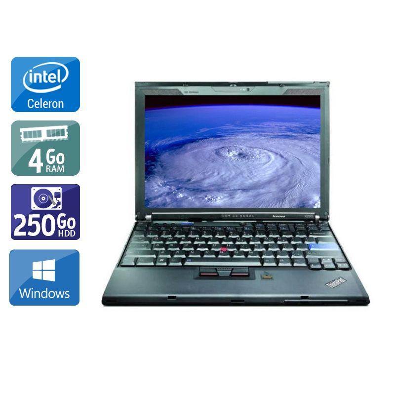 Lenovo ThinkPad X200S Celeron 4Go RAM 250Go HDD Windows 10