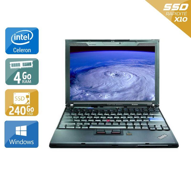 Lenovo ThinkPad X200S Celeron 4Go RAM 240Go SSD Windows 10