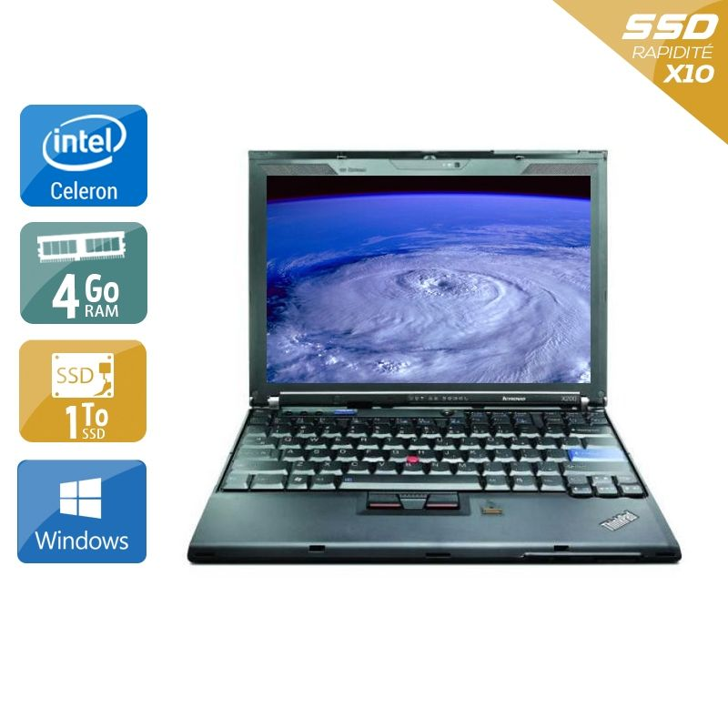 Lenovo ThinkPad X200S Celeron 4Go RAM 1To SSD Windows 10