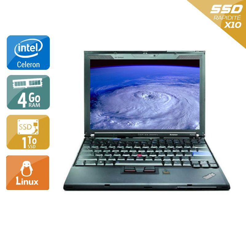 Lenovo ThinkPad X200S Celeron 4Go RAM 1To SSD Linux