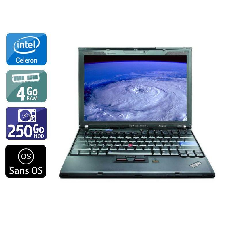 Lenovo ThinkPad X200S Celeron 4Go RAM 250Go HDD Sans OS