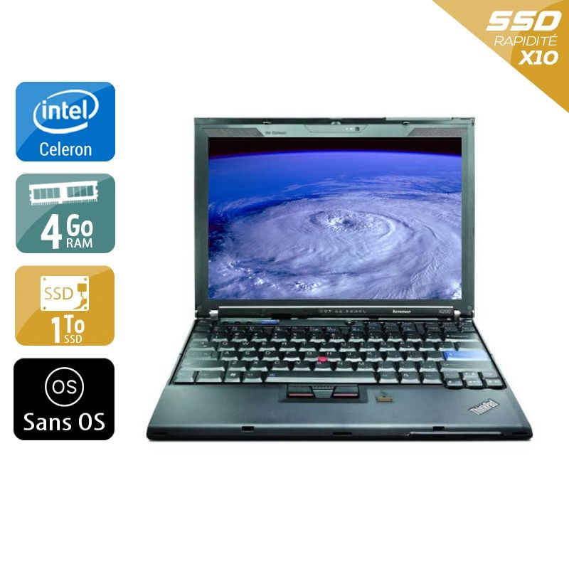 Lenovo ThinkPad X200S Celeron 4Go RAM 1To SSD Sans OS