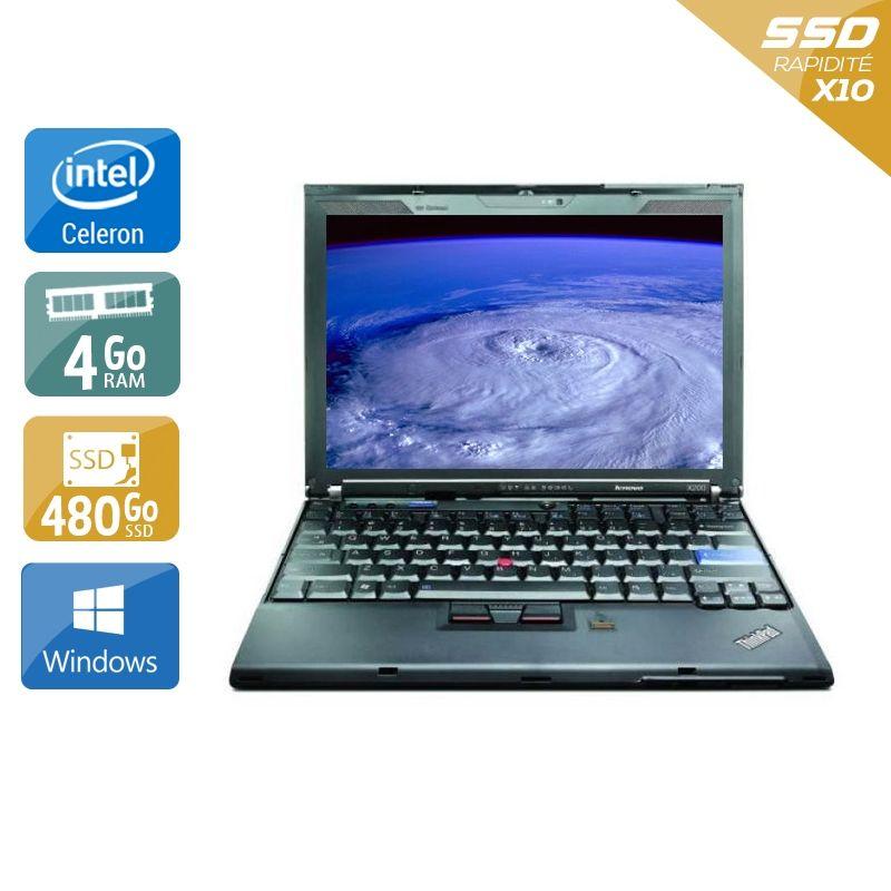 Lenovo ThinkPad X200S Celeron 4Go RAM 480Go SSD Windows 10