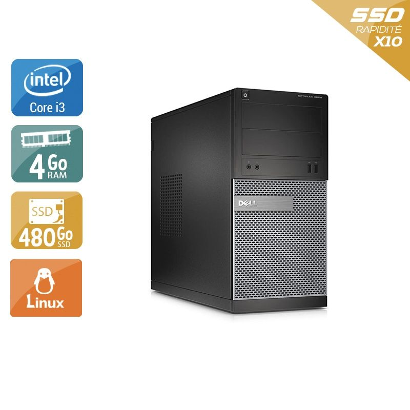 Dell Optiplex 3020 Tower i3 4Go RAM 480Go SSD Linux