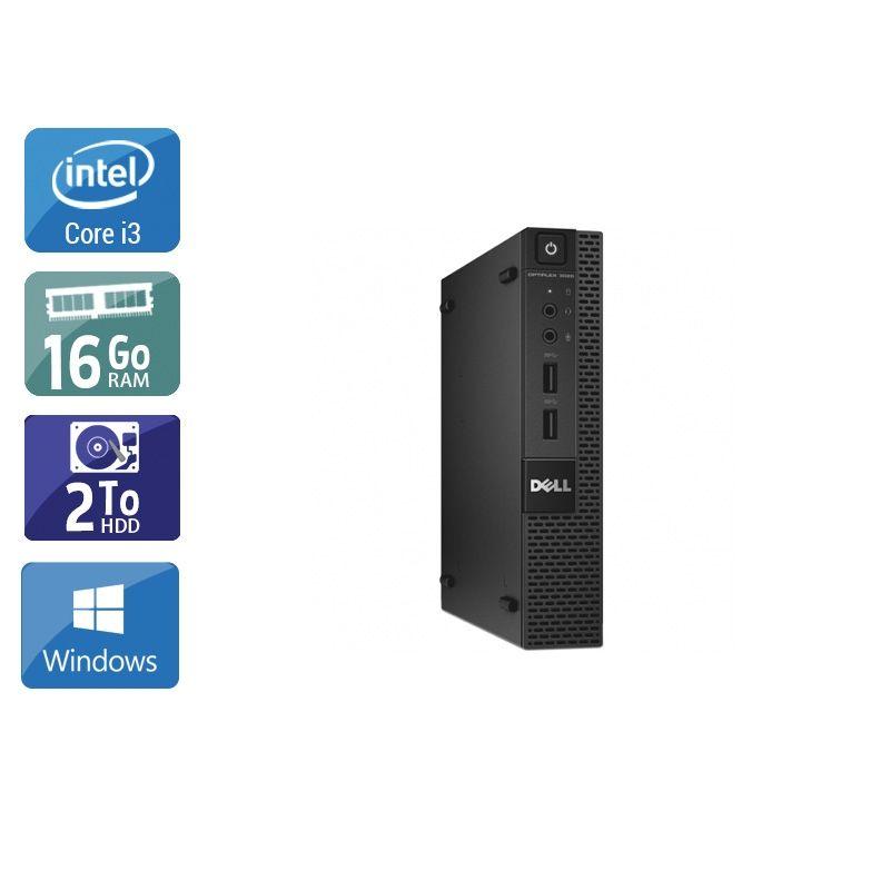 Dell Optiplex 3020M Micro i3 16Go RAM 2To HDD Windows 10