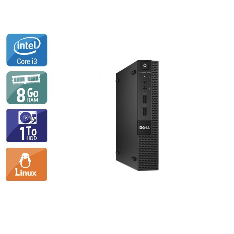 Dell Optiplex 3020M Micro i3 8Go RAM 1To HDD Linux