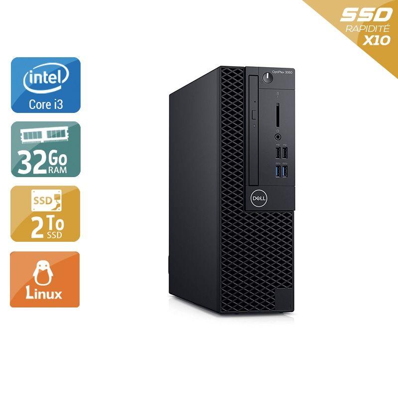 Dell Optiplex 3060 SFF i3 Gen 8 32Go RAM 2To SSD Linux