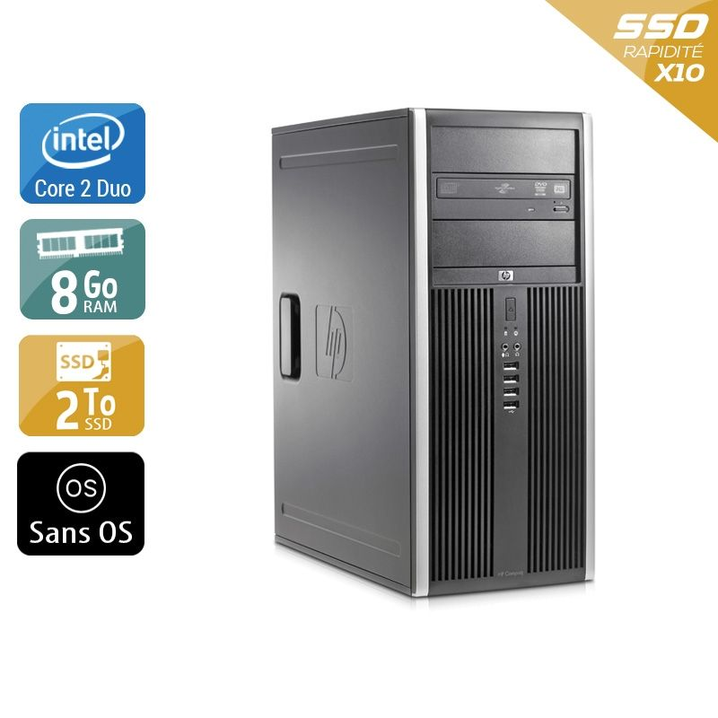 HP Compaq Elite 8000 Tower Core 2 Duo 8Go RAM 2To SSD Sans OS