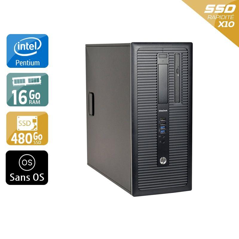 HP Compaq 280 G1 Tower Pentium G Dual Core 16Go RAM 480Go SSD Sans OS