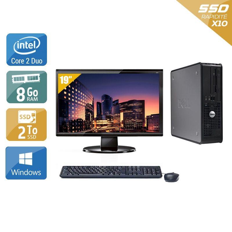 Dell Optiplex 380 Tower Core 2 Duo avec Écran 19 pouces 8Go RAM 2To SSD Windows 10