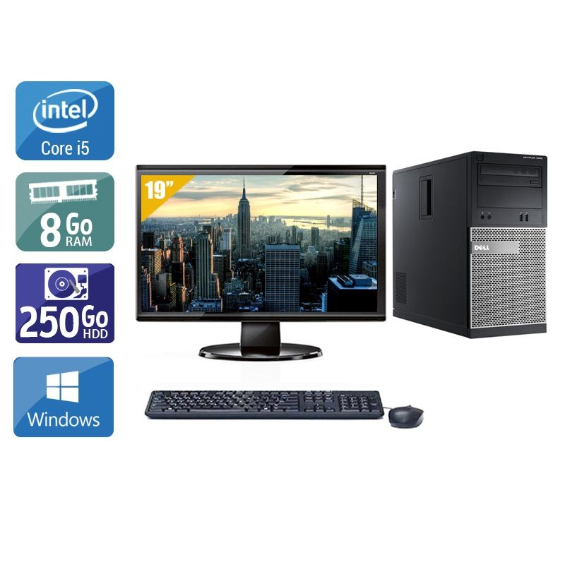 Dell Optiplex 3010 Tower i5 avec Écran 19 pouces 8Go RAM 250Go HDD Windows 10