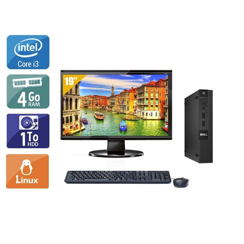 Dell Optiplex 3020M Micro i3 avec Écran 19 pouces 4Go RAM 1To HDD Linux
