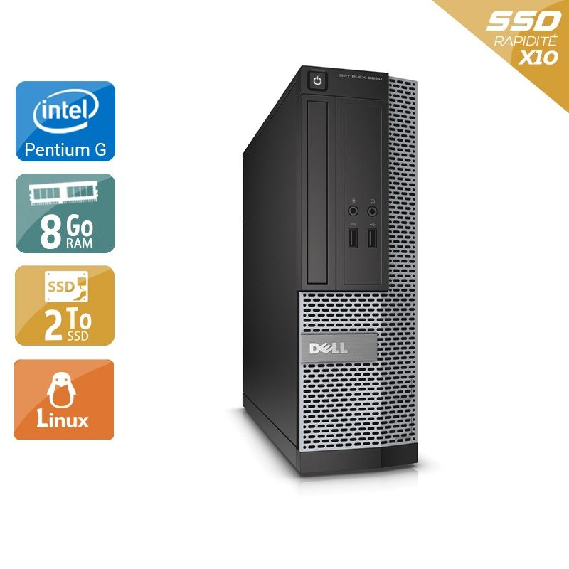 Dell Optiplex 390 SFF Pentium G Dual Core 8Go RAM 2To SSD Linux