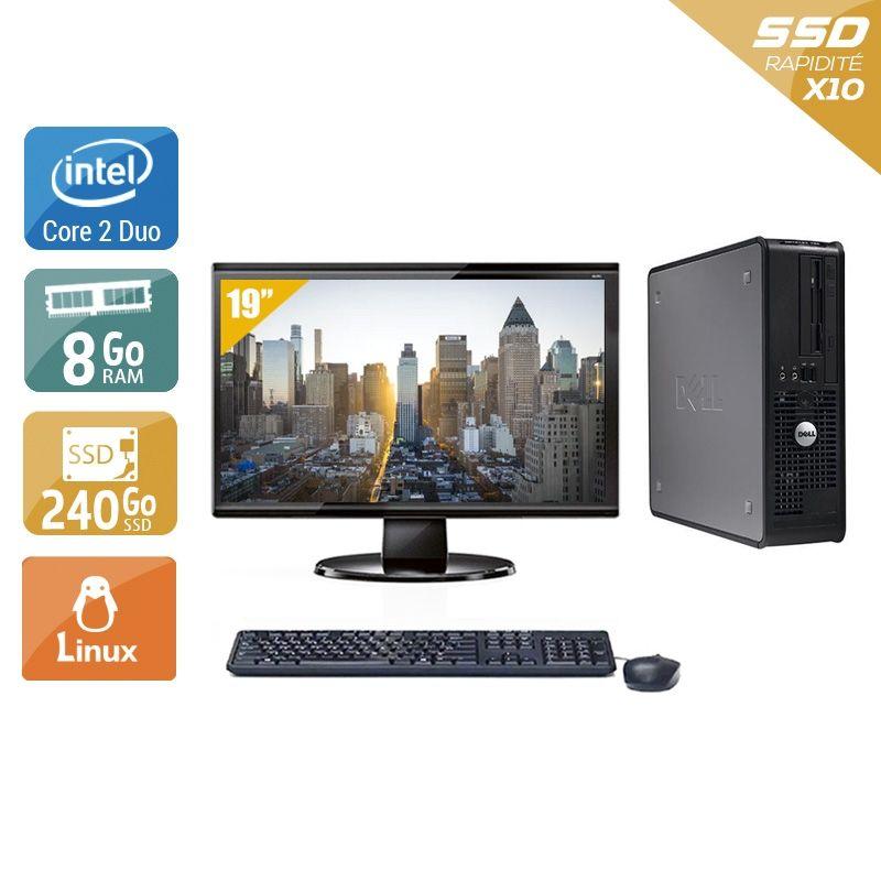 Dell Optiplex 380 SFF Core 2 Duo avec Écran 19 pouces 8Go RAM 240Go SSD Linux