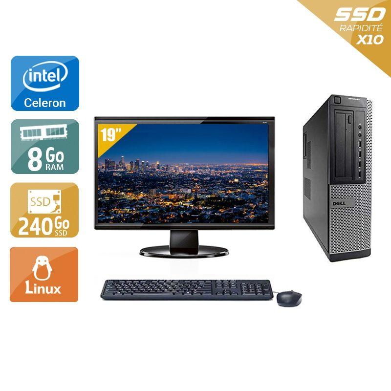 Dell Optiplex 390 Desktop Celeron avec Écran 19 pouces 8Go RAM 240Go SSD Linux