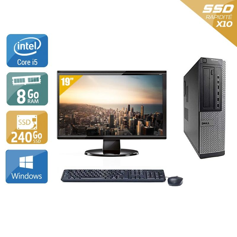 Dell Optiplex 390 Desktop i5 avec Écran 19 pouces 8Go RAM 240Go SSD Windows 10