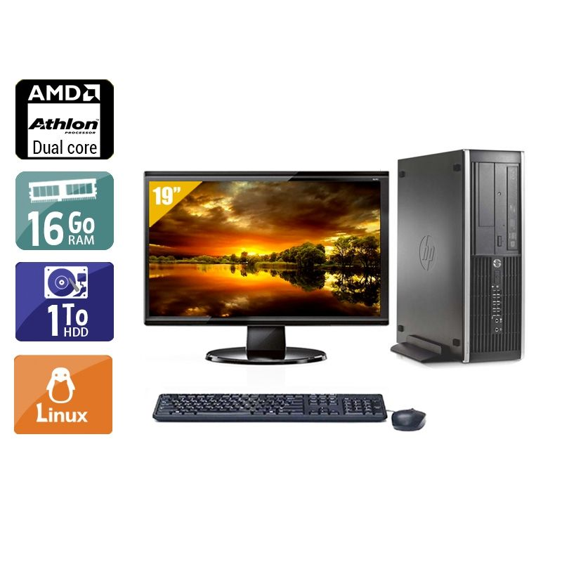 HP Compaq Pro 6005 SFF AMD Athlon Dual Core avec Écran 19 pouces 16Go RAM 1To HDD Linux