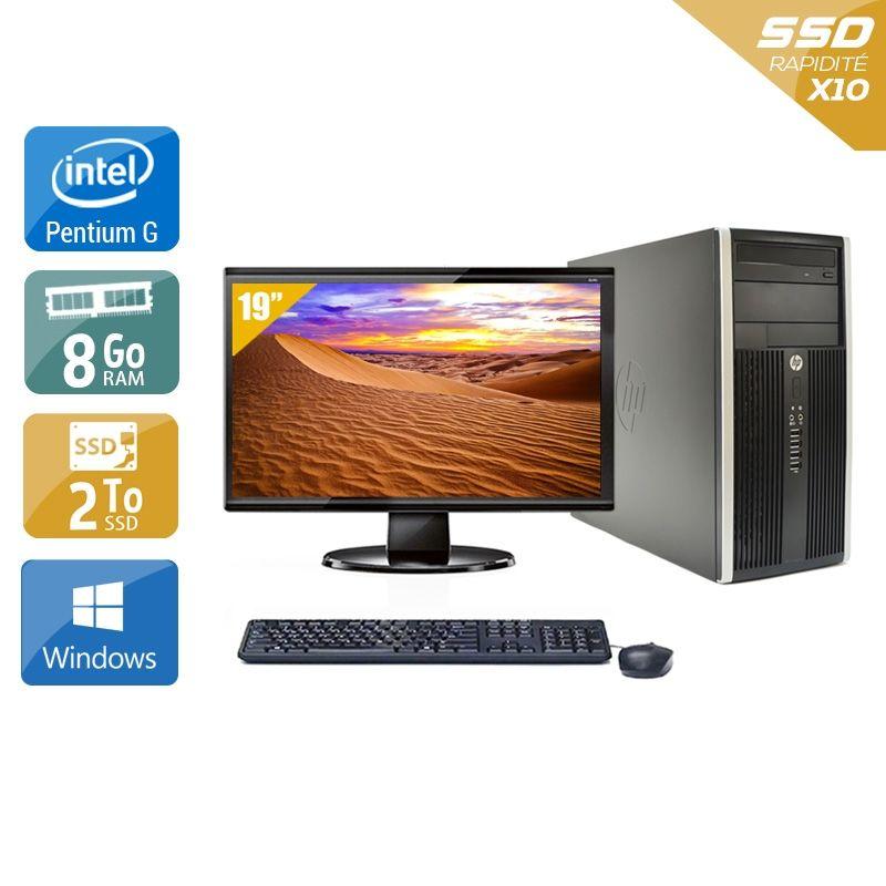 HP Compaq Pro 6200 Tower Pentium G Dual Core avec Écran 19 pouces 8Go RAM 2To SSD Windows 10