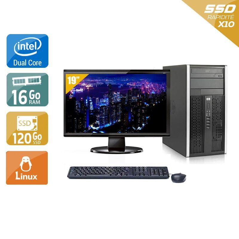 HP Compaq Pro 6000 Tower Dual Core avec Écran 19 pouces 16Go RAM 120Go SSD Linux