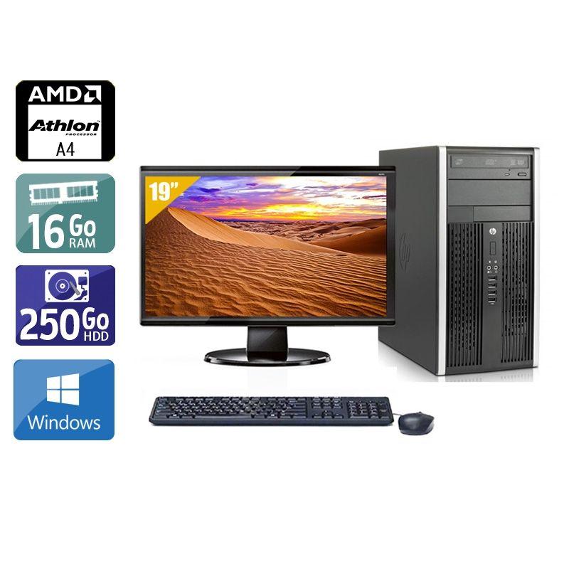 HP Compaq Pro 6305 Tower AMD A4 avec Écran 19 pouces 16Go RAM 250Go HDD Windows 10