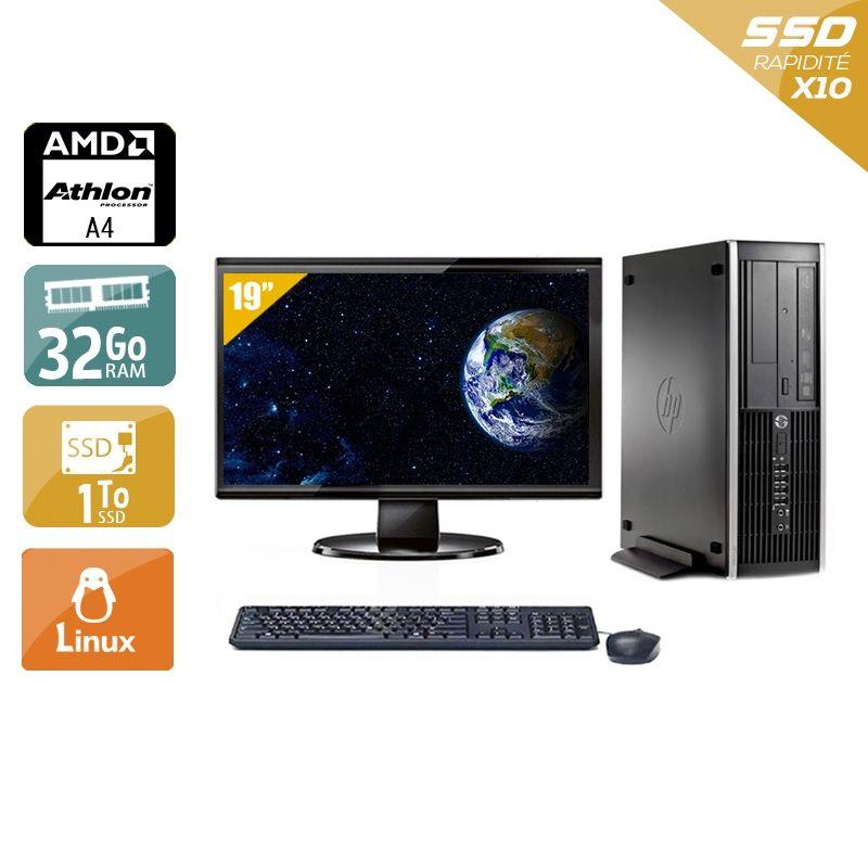 HP Compaq Pro 6305 SFF AMD A4 avec Écran 19 pouces 32Go RAM 2To SSD Linux
