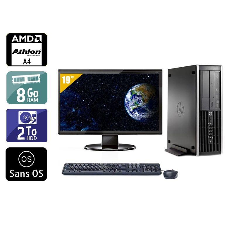 HP Compaq Pro 6305 SFF AMD A4 avec Écran 19 pouces 8Go RAM 2To HDD Sans OS