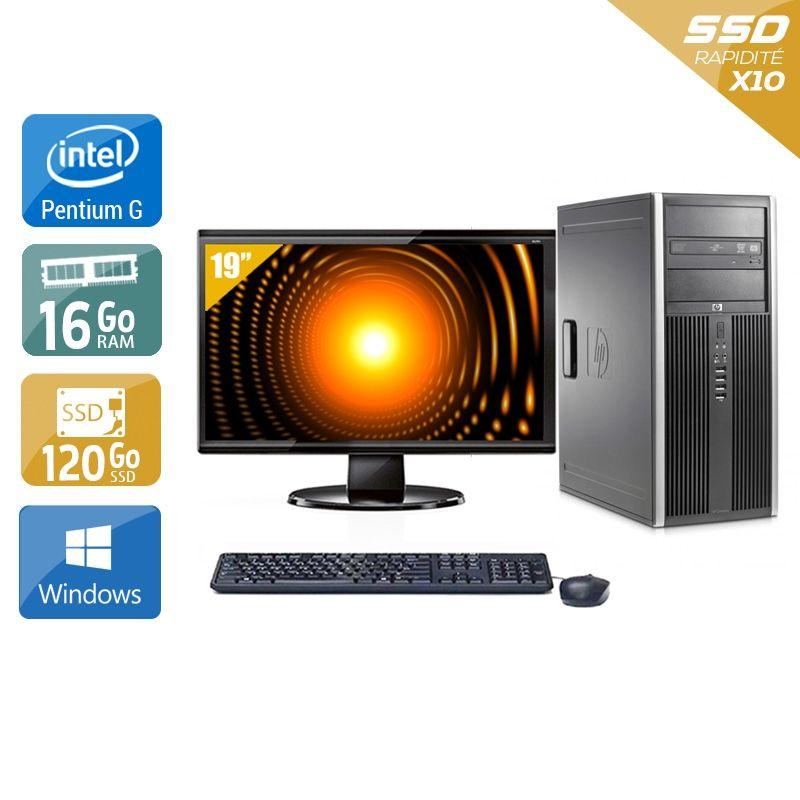 HP Compaq Elite 8100 Tower Pentium G Dual Core avec Écran 19 pouces 16Go RAM 120Go SSD Windows 10
