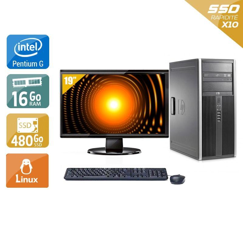 HP Compaq Elite 8100 Tower Pentium G Dual Core avec Écran 19 pouces 16Go RAM 480Go SSD Linux