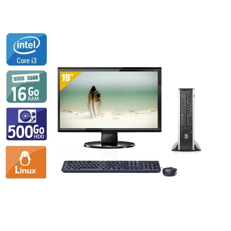 HP Compaq Elite 8200 USDT i3 avec Écran 19 pouces 16Go RAM 500Go HDD Linux