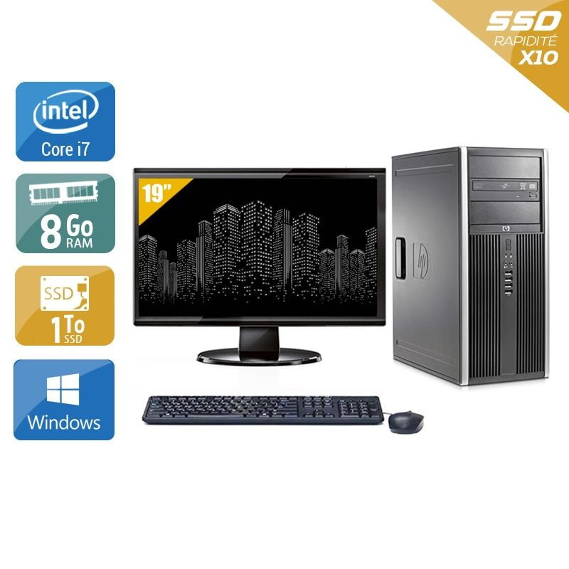 HP Compaq Elite 8300 Tower i7 avec Écran 19 pouces 8Go RAM 1To SSD Windows 10