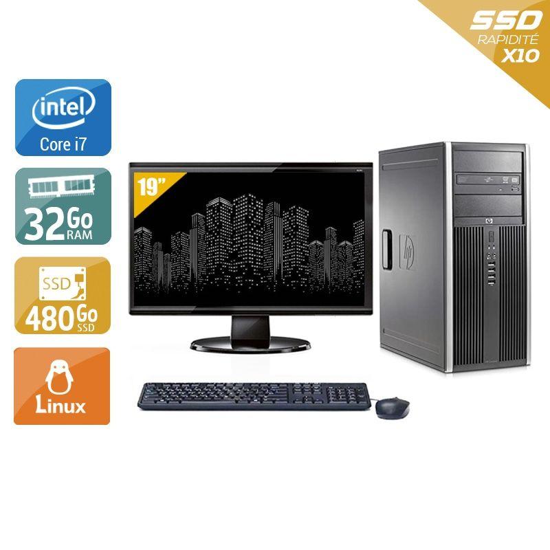 HP Compaq Elite 8300 Tower i7 avec Écran 19 pouces 32Go RAM 480Go SSD Linux