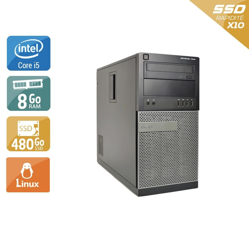 Dell Optiplex 7010 Tower i5 8Go RAM 480Go SSD Linux
