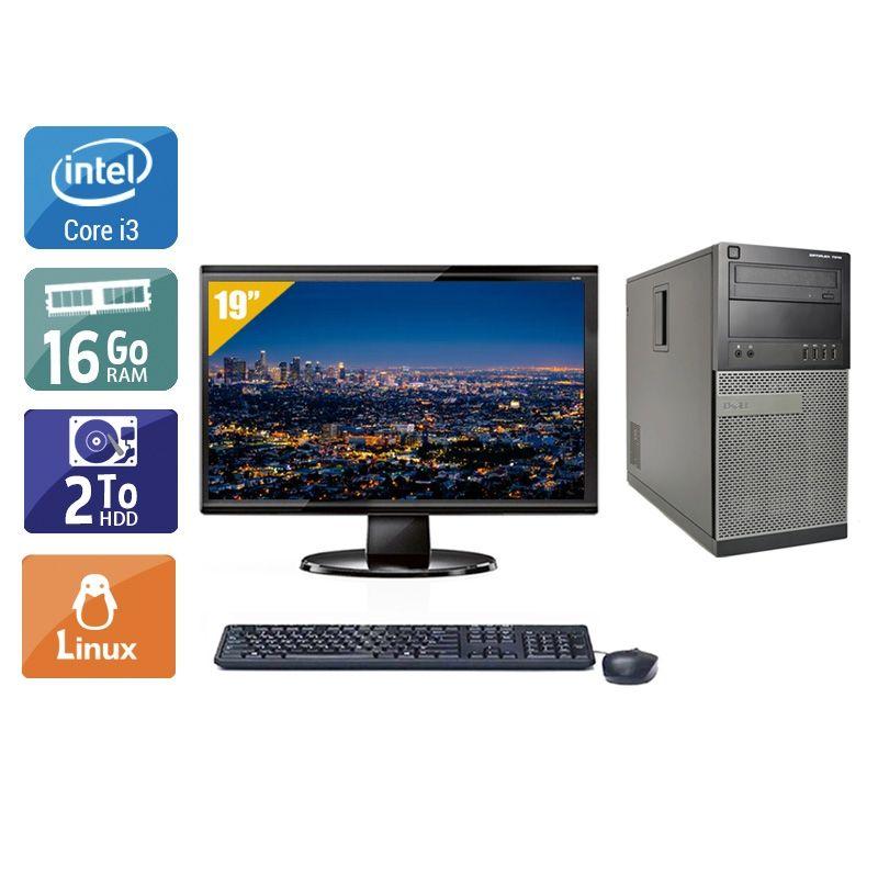 Dell Optiplex 7010 Tower i3 avec Écran 19 pouces 16Go RAM 2To HDD Linux