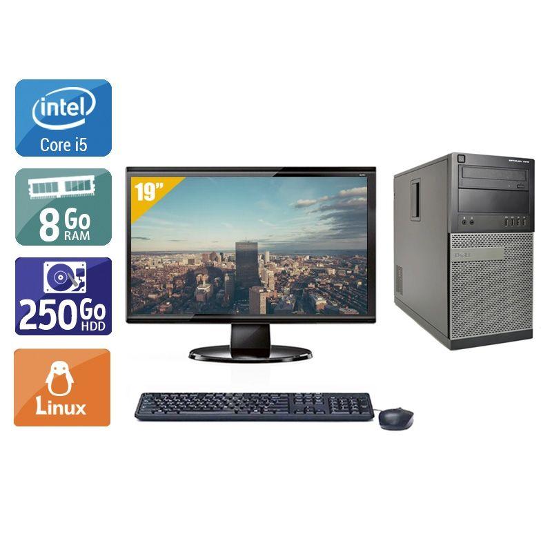 Dell Optiplex 7010 Tower i5 avec Écran 19 pouces 8Go RAM 250Go HDD Linux