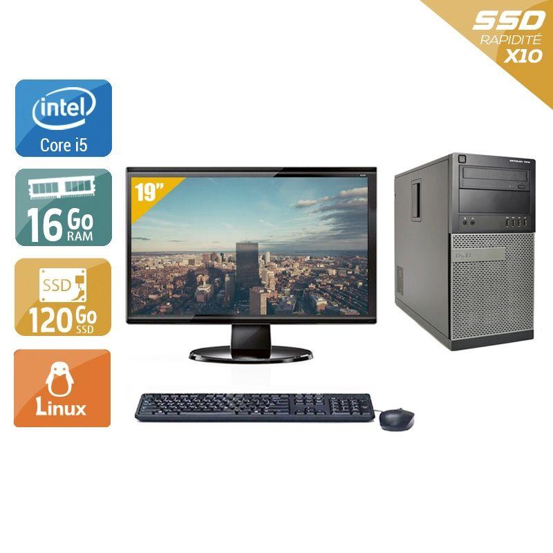 Dell Optiplex 7010 Tower i5 avec Écran 19 pouces 16Go RAM 120Go SSD Linux