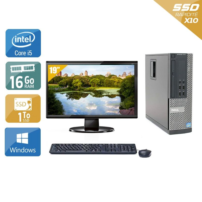 Dell Optiplex 7010 SFF i5 avec Écran 19 pouces 16Go RAM 1To SSD Windows 10