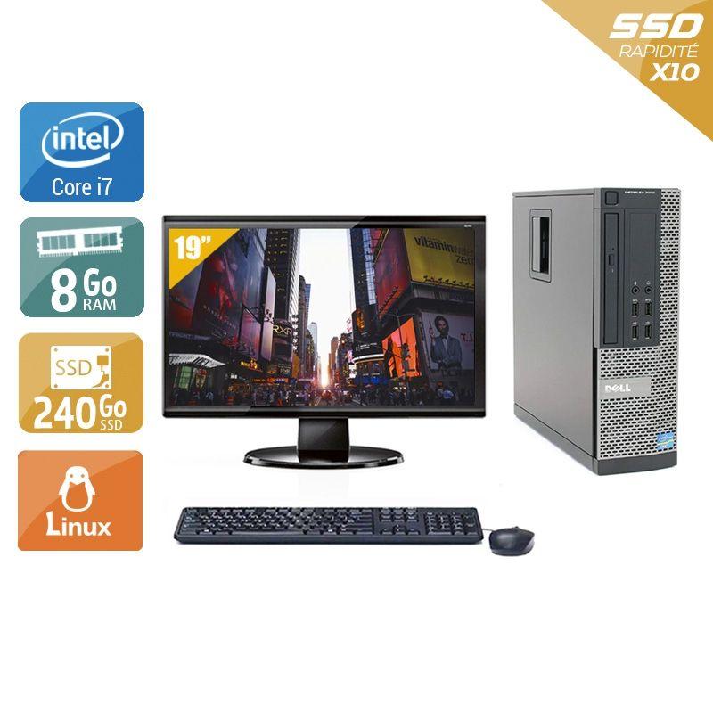 Dell Optiplex 7010 SFF i7 avec Écran 19 pouces 8Go RAM 240Go SSD Linux