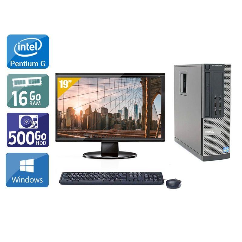 Dell Optiplex 7010 SFF Pentium G Dual Core avec Écran 19 pouces 16Go RAM 500Go HDD Windows 10
