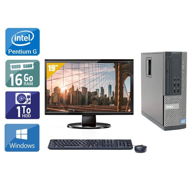 Dell Optiplex 7010 SFF Pentium G Dual Core avec Écran 19 pouces 16Go RAM 1To HDD Windows 10