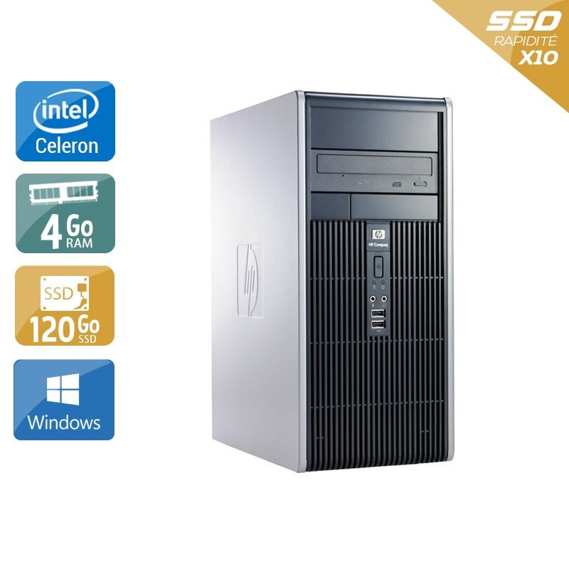 HP Compaq dc7800 Tower Celeron Dual Core 4Go RAM 120Go SSD Windows 10