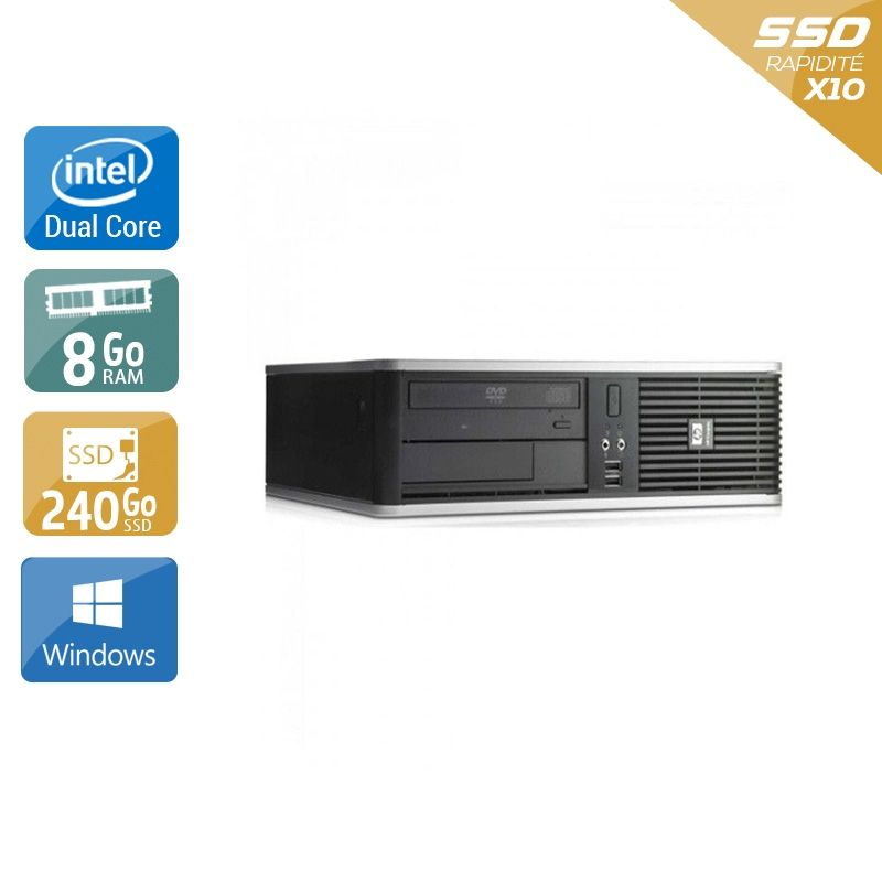 HP Compaq dc7800 SFF Dual Core 8Go RAM 240Go SSD Windows 10