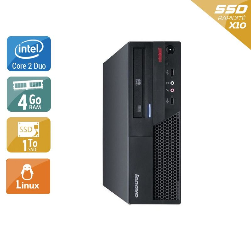 Lenovo ThinkCentre M57 SFF Core 2 Duo 4Go RAM 2To SSD Linux