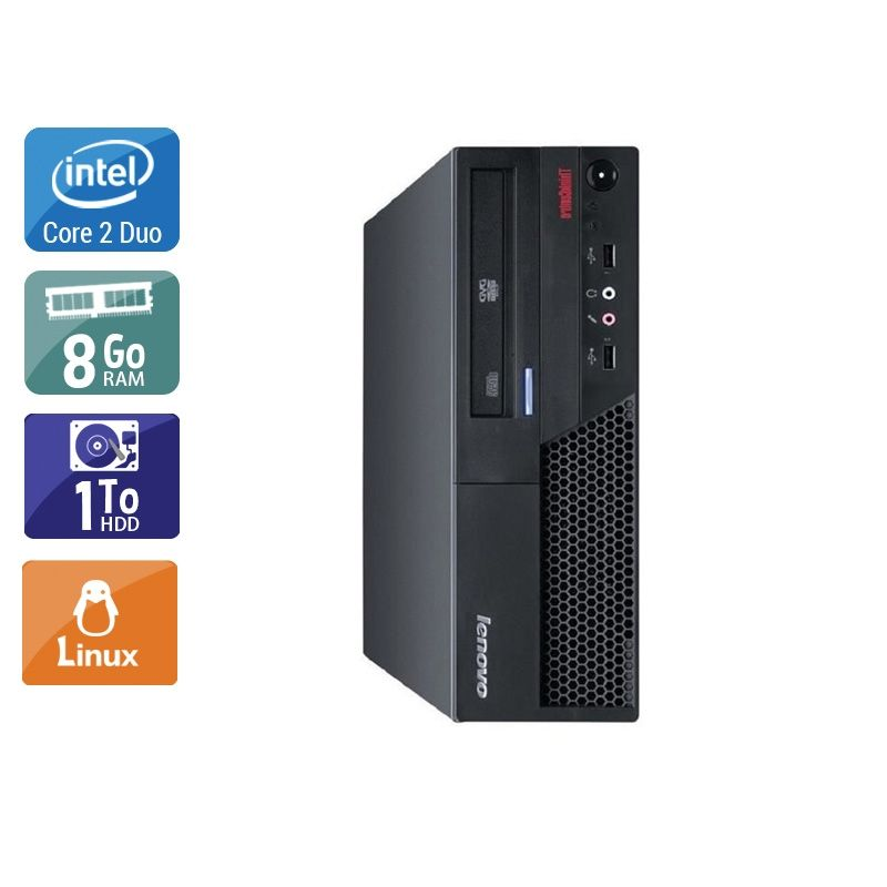 Lenovo ThinkCentre M57 SFF Core 2 Duo 8Go RAM 1To HDD Linux