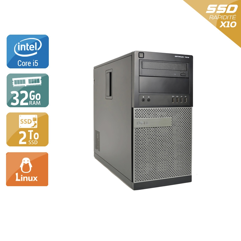 Dell Optiplex 9010 Tower i5 32Go RAM 2To SSD Linux