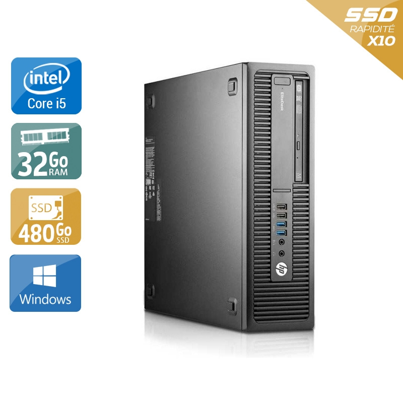 HP EliteDesk 800 G1 SFF i5 32Go RAM 480Go SSD Windows 10