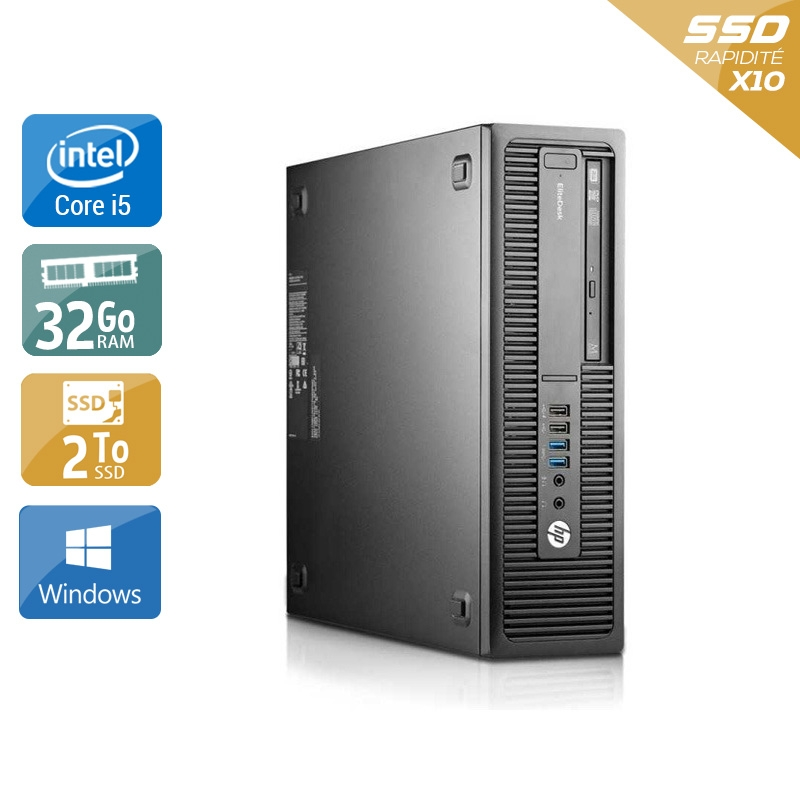 HP EliteDesk 800 G1 SFF i5 32Go RAM 2To SSD Windows 10