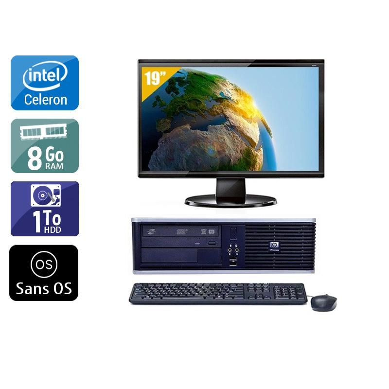 HP Compaq dc7800 SFF Celeron Dual Core avec Écran 19 pouces 8Go RAM 1To HDD Sans OS