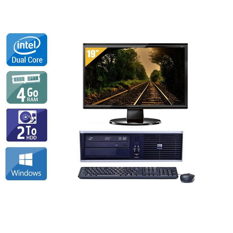 HP Compaq dc7800 SFF Dual Core avec Écran 19 pouces 4Go RAM 2To HDD Windows 10