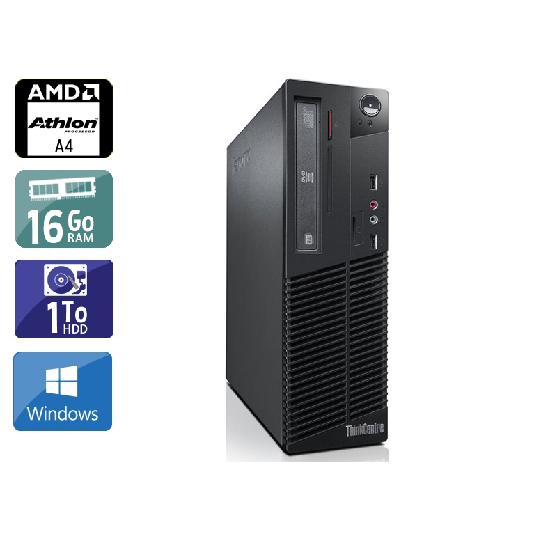 Lenovo ThinkCentre M78 SFF AMD A4 16Go RAM 1To HDD Windows 10